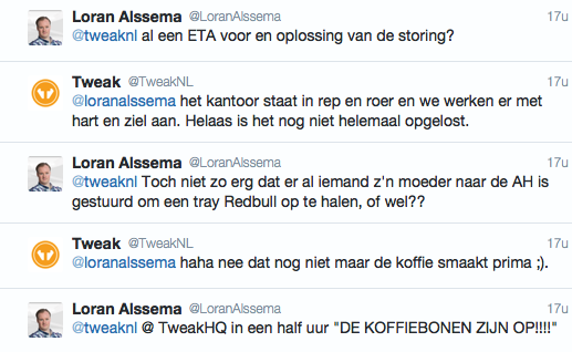 Twitterbericht over de storing van 4 november
