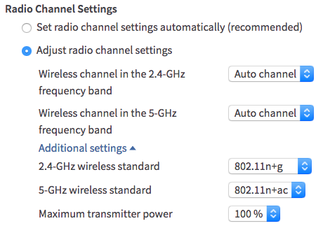 WiFi-instellingen voor 2,4 en 5 GHz
